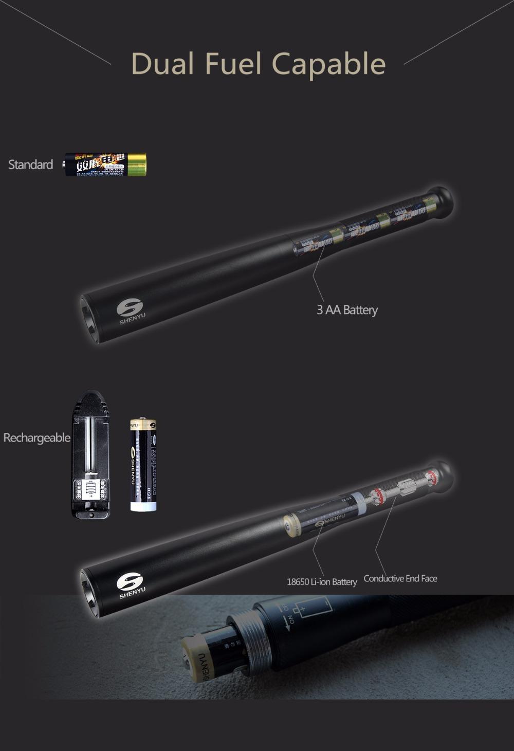 SHENYU 450 Lumens 36cm Bat Shaped Security and Self Defense LED Flashlight Torch