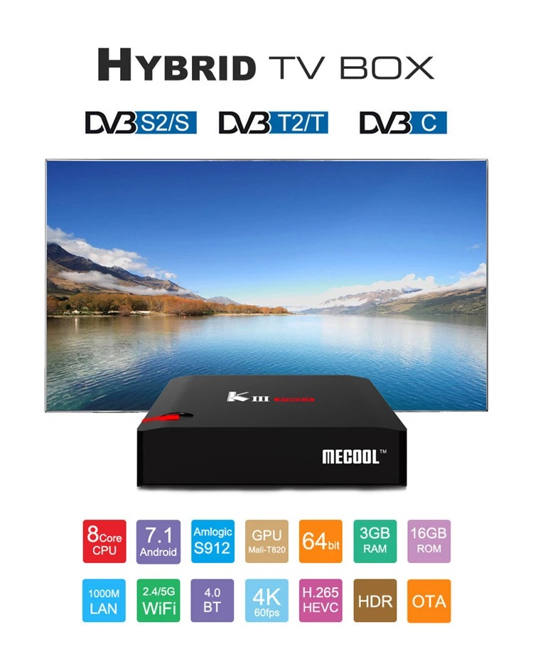 KIII PRO Android 7.1 TV BOX + DVB-S2 & T2 3GB/16GB Media Player- K3 Pro