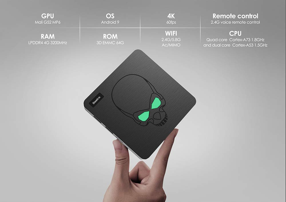Beelink GT-King 4GB+64GB TV Box Android 9.0 - Amlogic S922X Hexa-core ARM G52 4K H.265 Smart Streaming Media Players Open-SDK 2.4+5.8G WiFi/BT 4.1 / 1000Mpbs/LAN