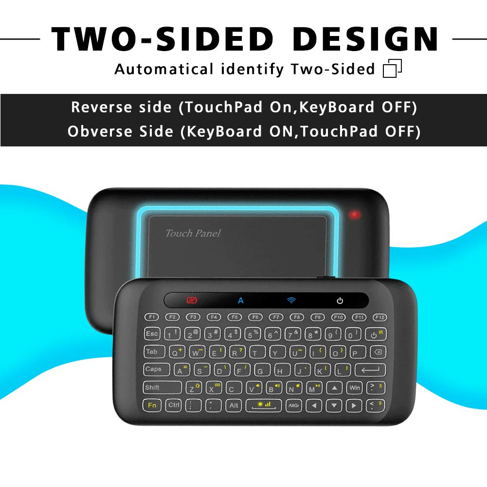 H20 Wireless Mini-Keyboard Two-Sided Touch Backlit Keyboard H20 with Infrared Learning Function, 2.4GHz Rechargeable Mouse for Android TV Box, PC, Computer, Media Player