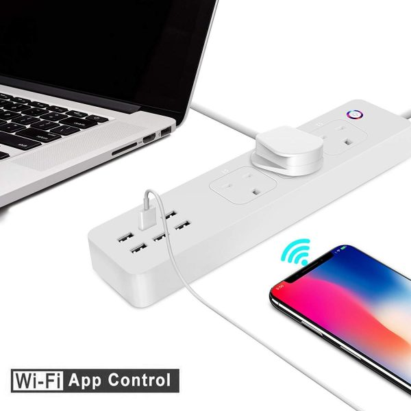 Smart WiFi Power Strip APP Remote Voice Individual Control with Amazon  Alexa Google Home Assistant 3 AC 6 USB Extension Lead Cord Timer via  Android