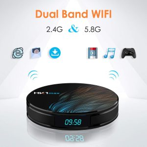 HK1 Max Android 9.1 TV Box 4GB RAM 64GB ROM BT 4.1 RK3328 Support Dual-WiFi 2.4GHz/5GHz Android TV Box Full HD 4K Support 3D Wifi
