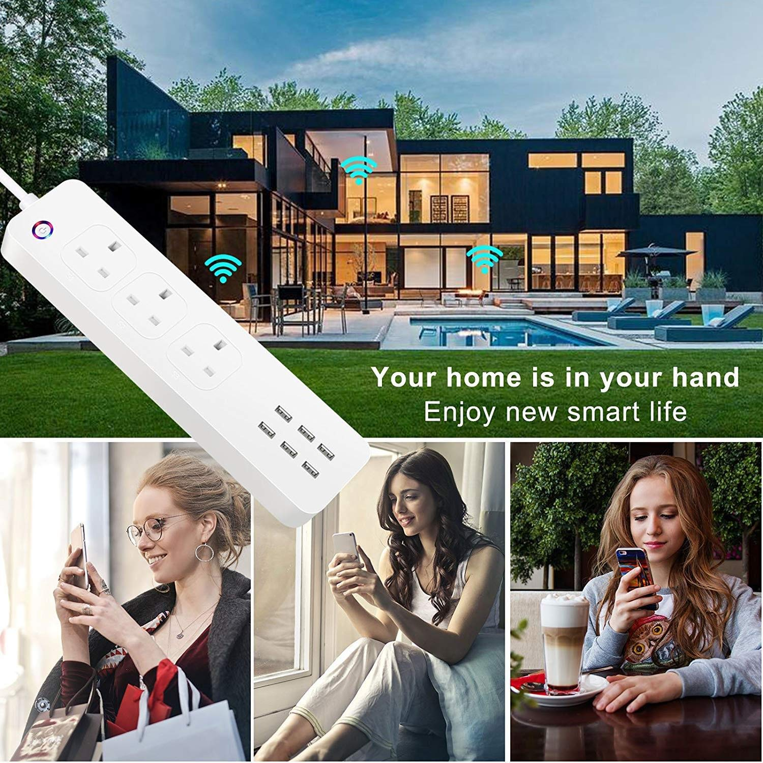 Smart WiFi Power Strip APP Remote Voice Individual Control with Amazon Alexa Google Home Assistant 3 AC 6 USB Extension Lead Cord Timer via Android iOS Smartphone Tablets Works with WiFi 2.4GHz