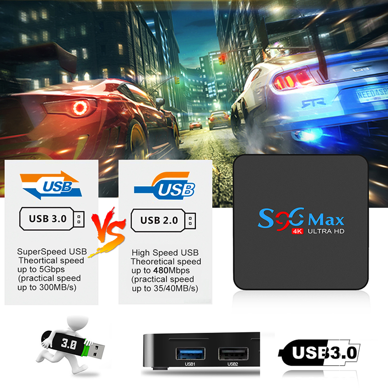 S96 MAX Android 9.0 TV BOX 4GB RAM 32GB Smart Media Player RK3318 Quad Core 4k HDR Set Top Box USB 3.0 BT 5G WIFI PK X96