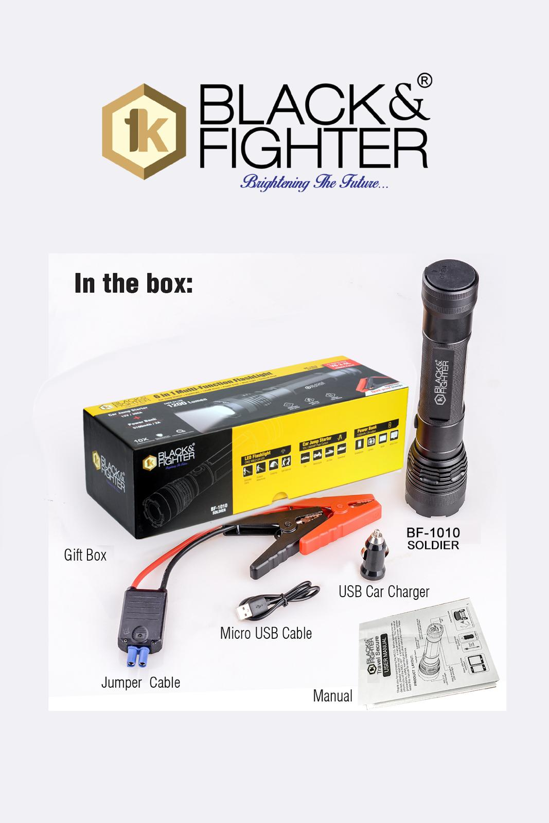BLACK & FIGHTER 6 IN 1 MULTI-FUNCTION FLASHLIGHT