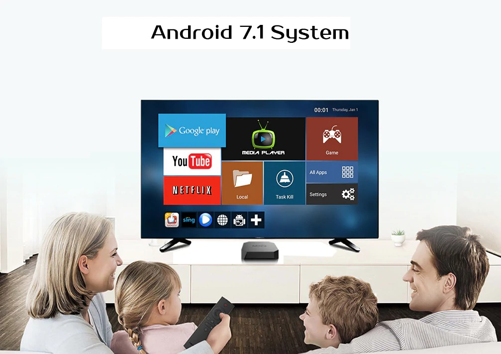 MXQ U2+ 2GB/16GB Android 7.1 S905W Quad Core WiFi TV Box
