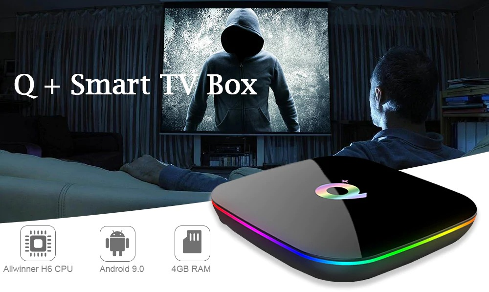 Q Plus 4GB/64GB 6K Android 9.0 TV Box WiFi LAN USB 3.0 HDMI KODI 17.6