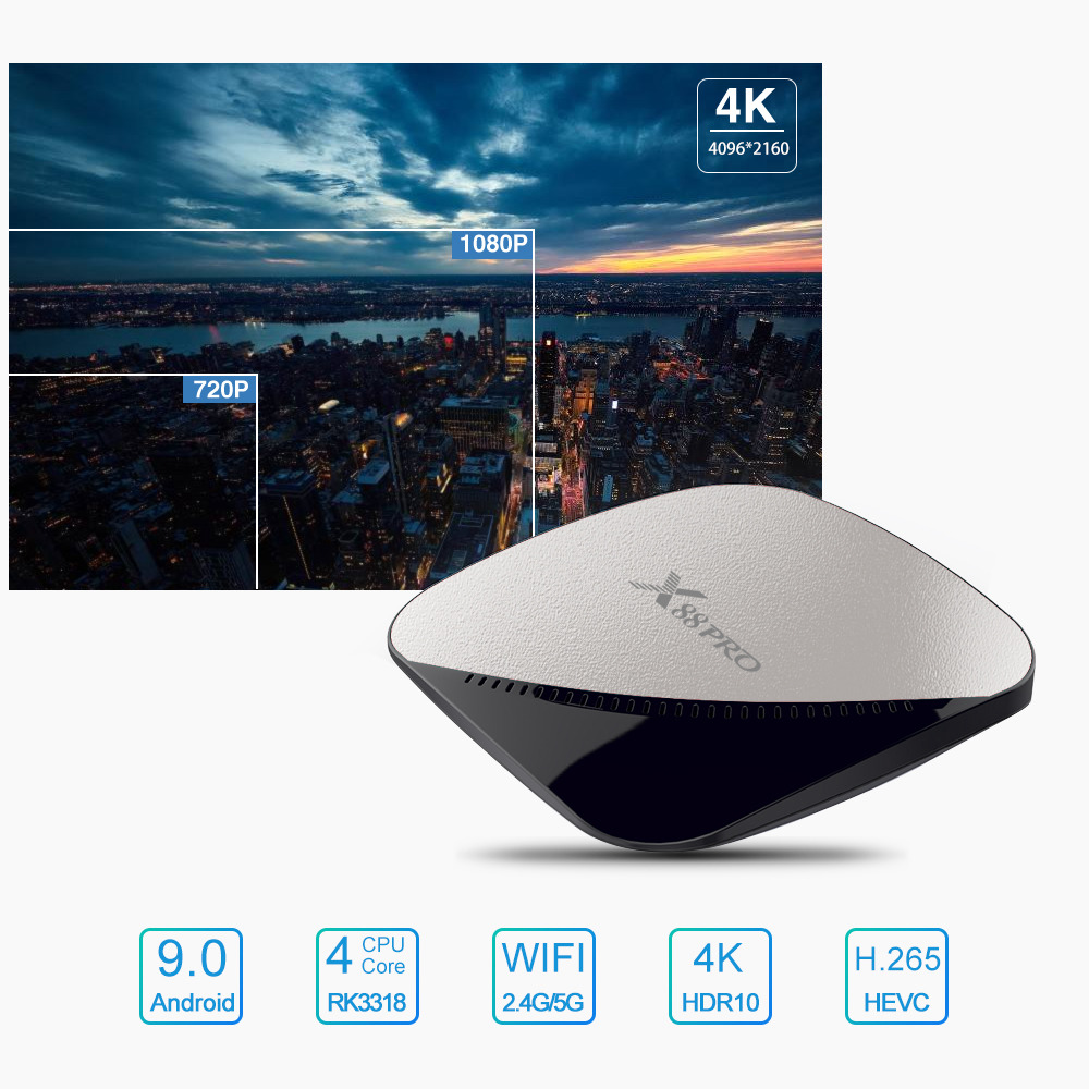 X88 Pro RK3318 Android 9.0 4GB/64GB Mini TV Box YouTube 4K Dual Band WiFi USB3.0 Shop online Qatar
