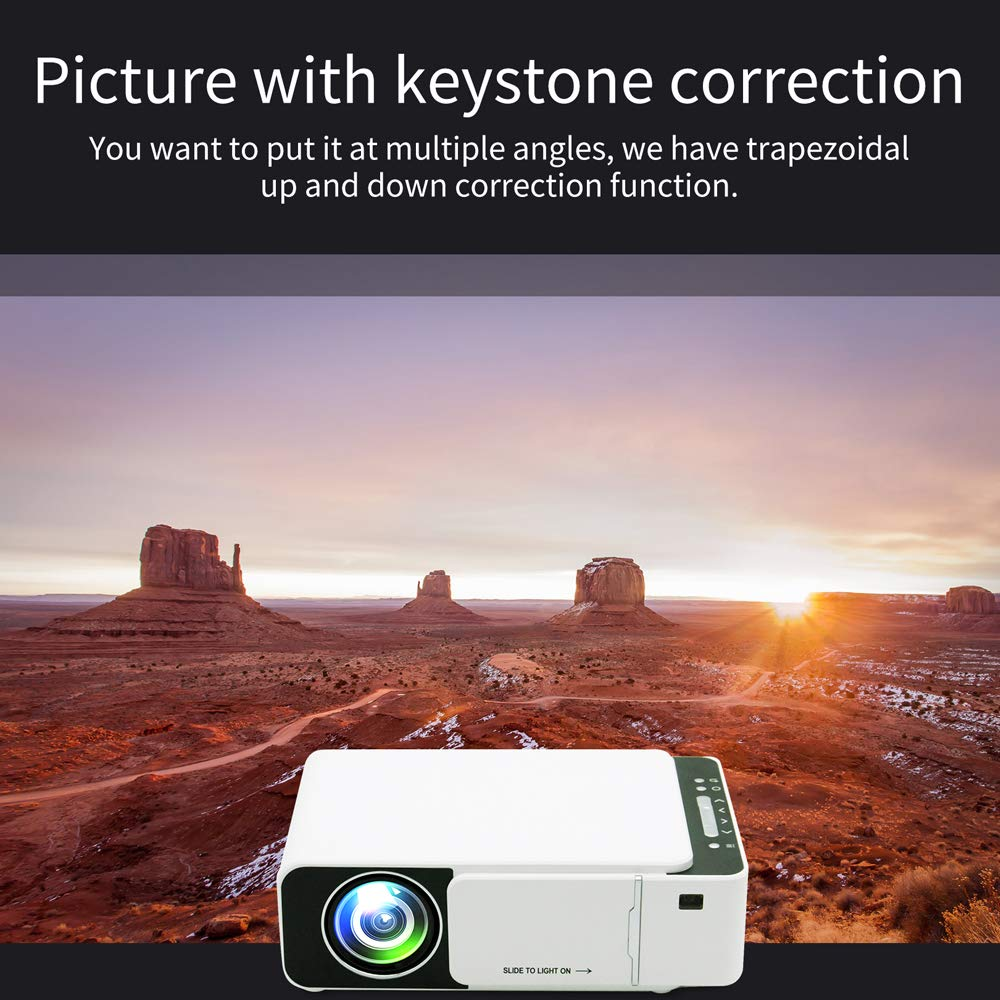 T5 LED Portable Mini Projector 800x480 Smart Video Projectors Home Theater White