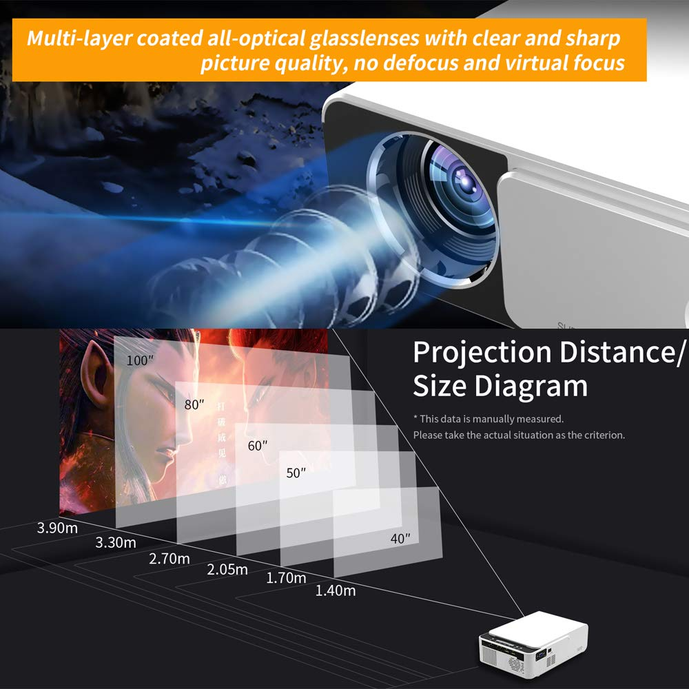 T5 LED Portable Mini Projector 800x480 Smart Video Projectors Home Theater White