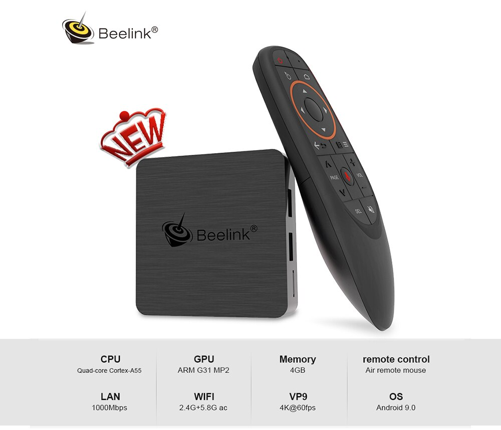 Beelink GT1 Mini - 2 Android 9.0 TV Box Amlogic S905X3 4K HD 4GB 64GB 2.4G 5.8G WiFi 1000Mbps BT 4.0 TV Box