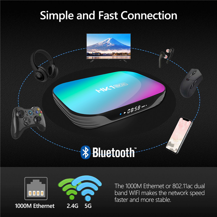 HK1 Box x3 Amlogic S905X3 Smart Android 9.0 TV BOX 4GB RAM 64GB ROM 2.4G 5G dual wifi Bluetooth 4K UHD Set Top Box