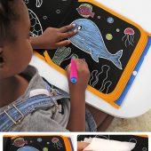 Tumama Portable Drawing Board Book DIY Blackboard Painting Repeatable Coloring Book