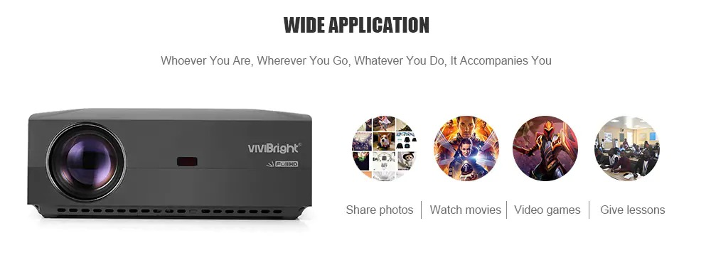 VIVIBRIGHT f30 1080P Android Projector, 1920x1080 Native Pixels, Consumer Class Video Entertainment Full HD Projector, 4200 White Light LED Brightness, SPDIF Interface with HiFi Sound Quality