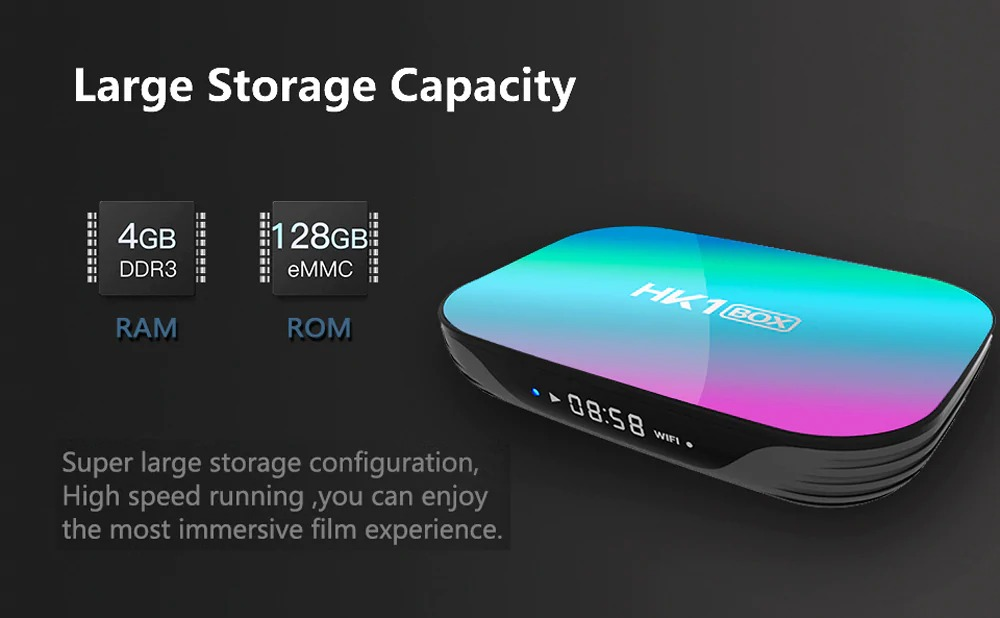 HK1 Box x3 Amlogic S905X3 Smart Android 9.0 TV BOX 4GB RAM 128GB ROM 2.4G 5G dual wifi Bluetooth 4K UHD Set Top Box