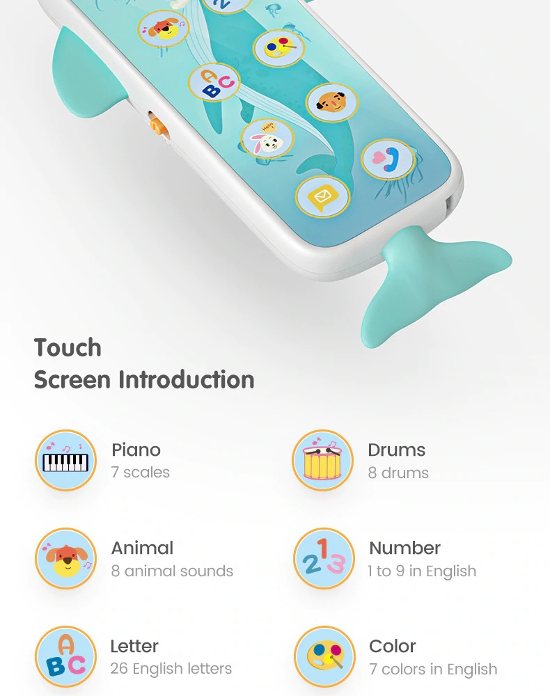 Tumama Kids Baby Whale Mobile Phone Remote Control - Touch screen -Musical Flashing