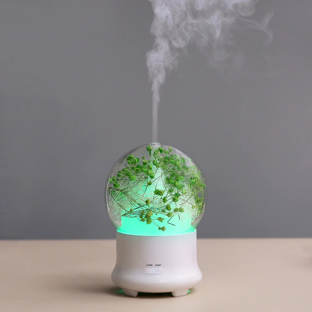 Ultrasonic Aromatherapy Essential Oil Diffuser Aroma Diffuser Cool Mist Humidifier Preserved Fresh Flower