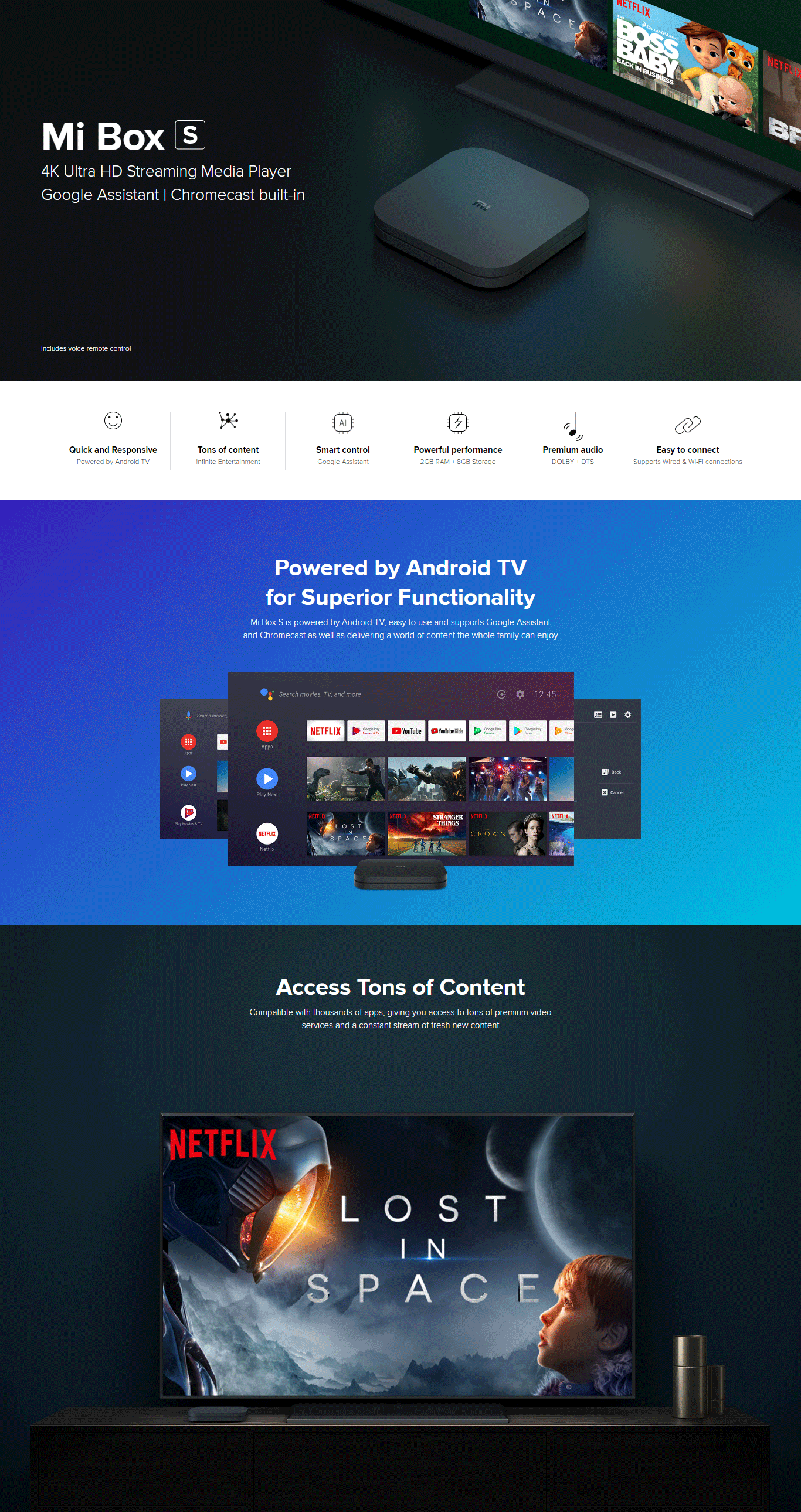 Xiaomi Mi Box S with Google Assistant Remote