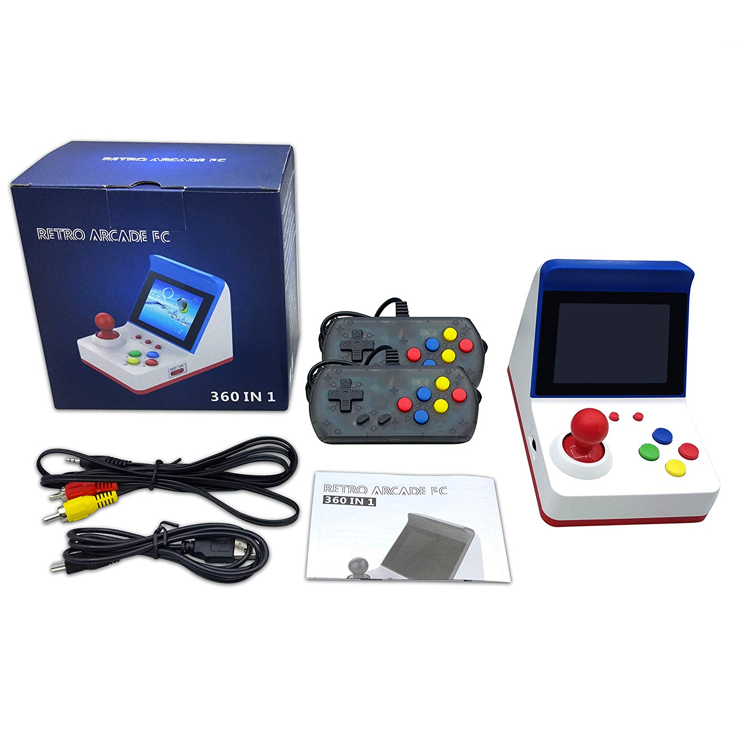 Retro Arcade FC 360 in 1 Mini Handheld Video Game Console 3 inch