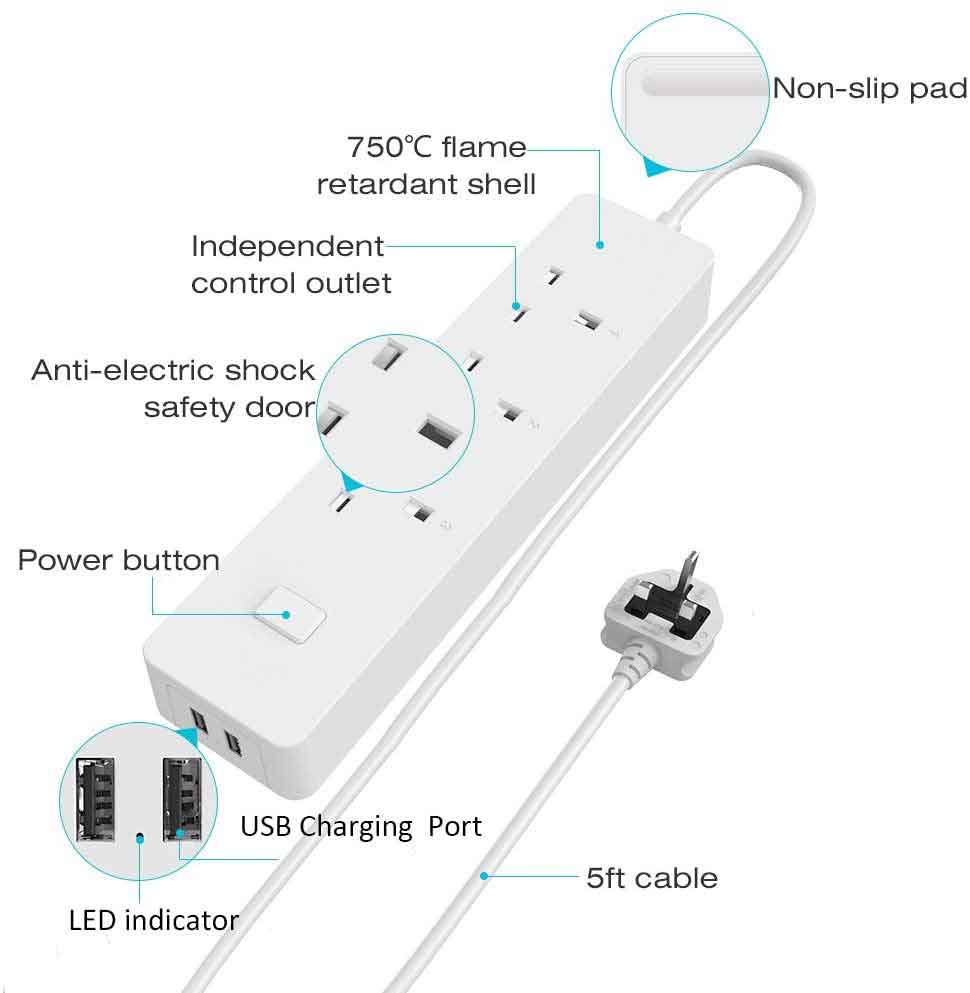 WiFi Smart Power Strip with 3 AC Individual Outlets & 2 USB Ports, Smart Multi Plug Sockets with Remote, Voice and App Control, Timing Function & Surge Protected Extension Leads (5ft), White