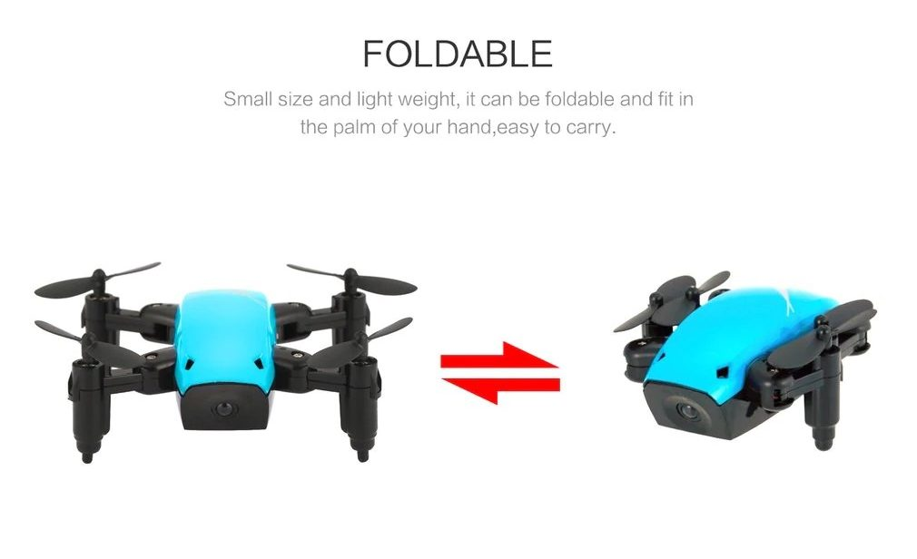 S9 Micro Foldable RC Drone - RTF - No Camera - Blue Standard Version