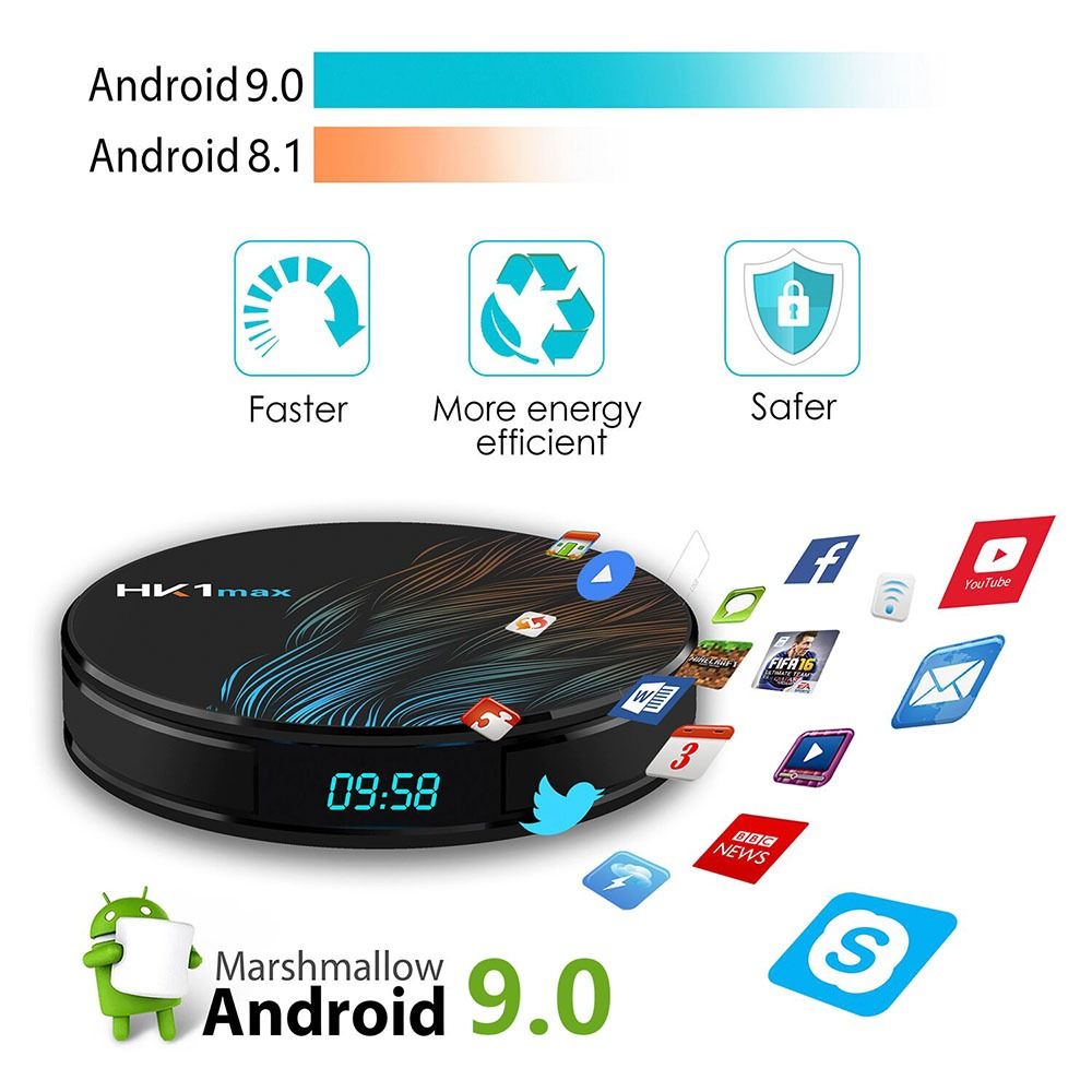 HK1 Max Android 9.0 4K TV Box 2GB RAM 16GB ROM - RK3318