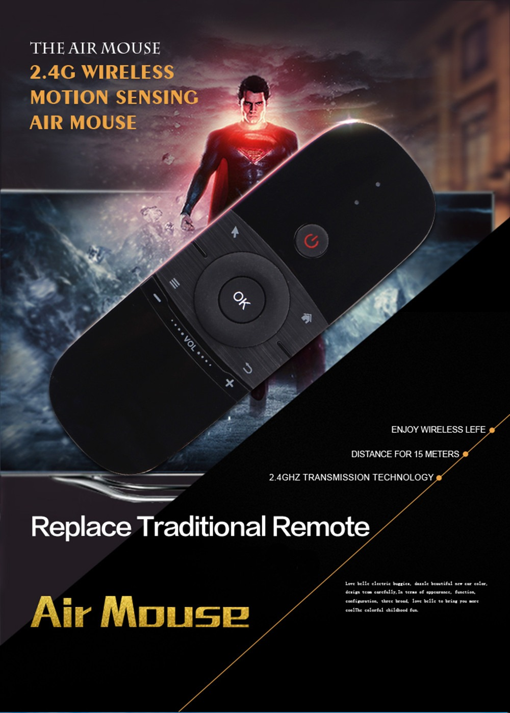 W1 Fly Air Mouse Wireless Mini Keyboard Mouse 2.4G Rechargeable Mini Remote Control For Smart TV Android TV Box Mini Pc