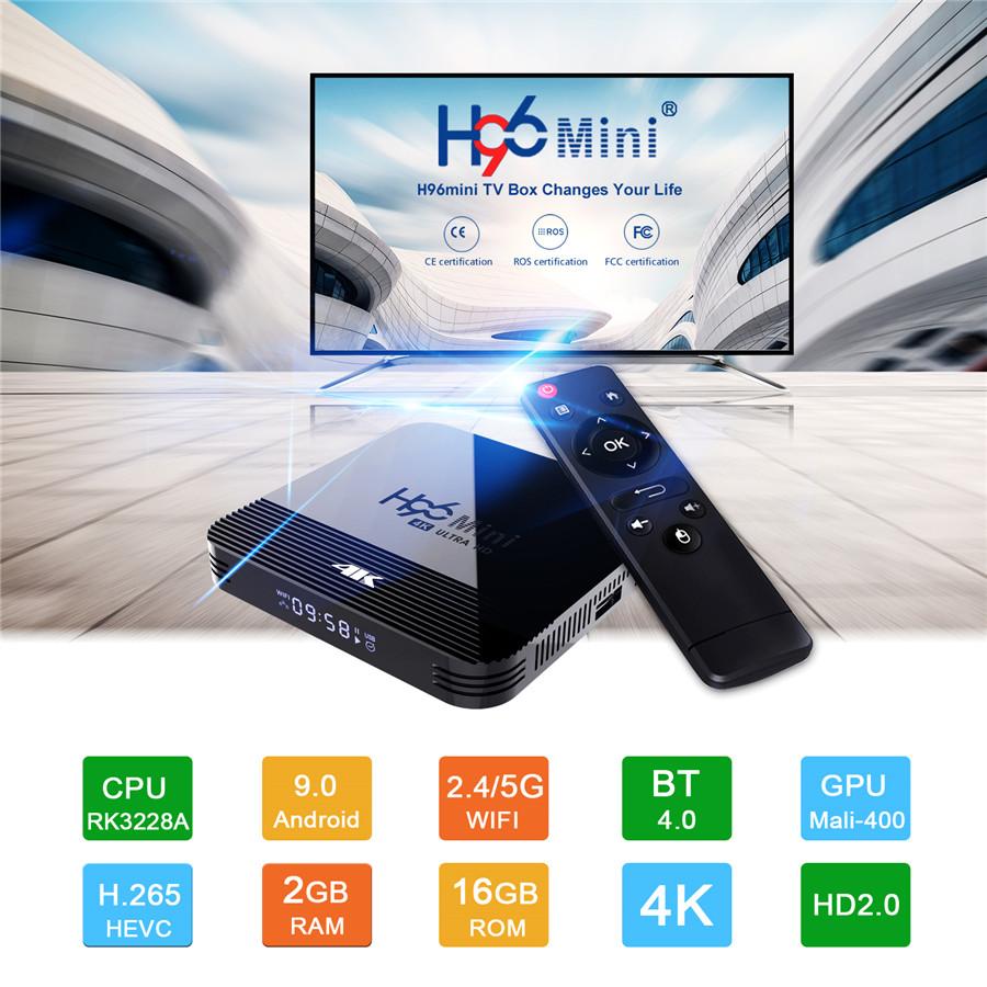 H96 Mini H8 Android 9.0 TV Box Quad Core 6K H.265 Wifi netflix Youtube Set top box H96 mini 2GB 16GB - UK PLUG 2GB RAM 16GB ROM