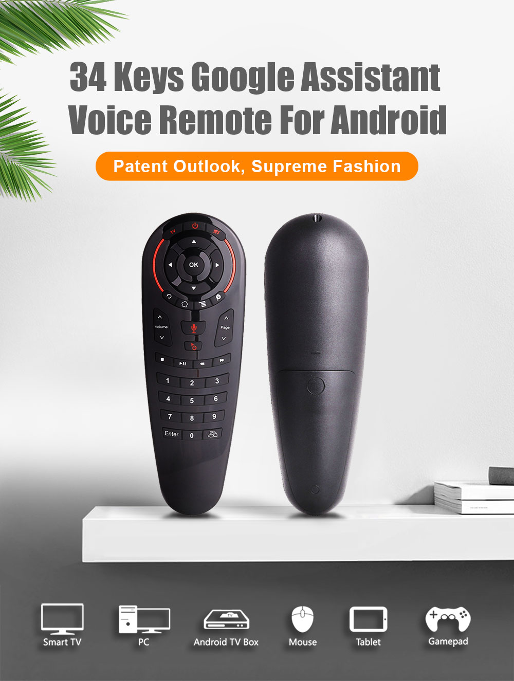 G30S Voice Air Mouse universal Remote control 34 keys IR learning Gyro Sensing Wireless Smart remote