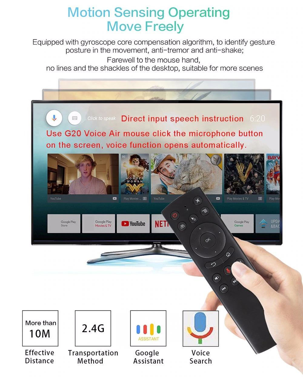 G20s Voice Control 2.4G Wireless G20S Fly Air Mouse Gyro Keyboard Motion Sensing Mini Remote Control For Android TV Box