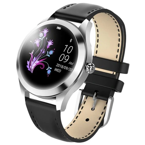 KW10 Smart Watch - Silver - black leather strap - Heart Rate Monitor Step Count Sedentary Reminder IP68