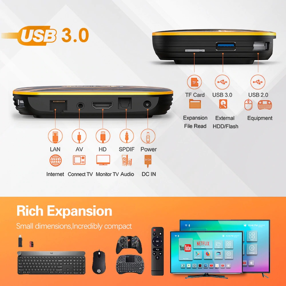 HK1 RBOX R1 Android 10 Smart TV Box - 4GB 64GB Rockchip RK3318