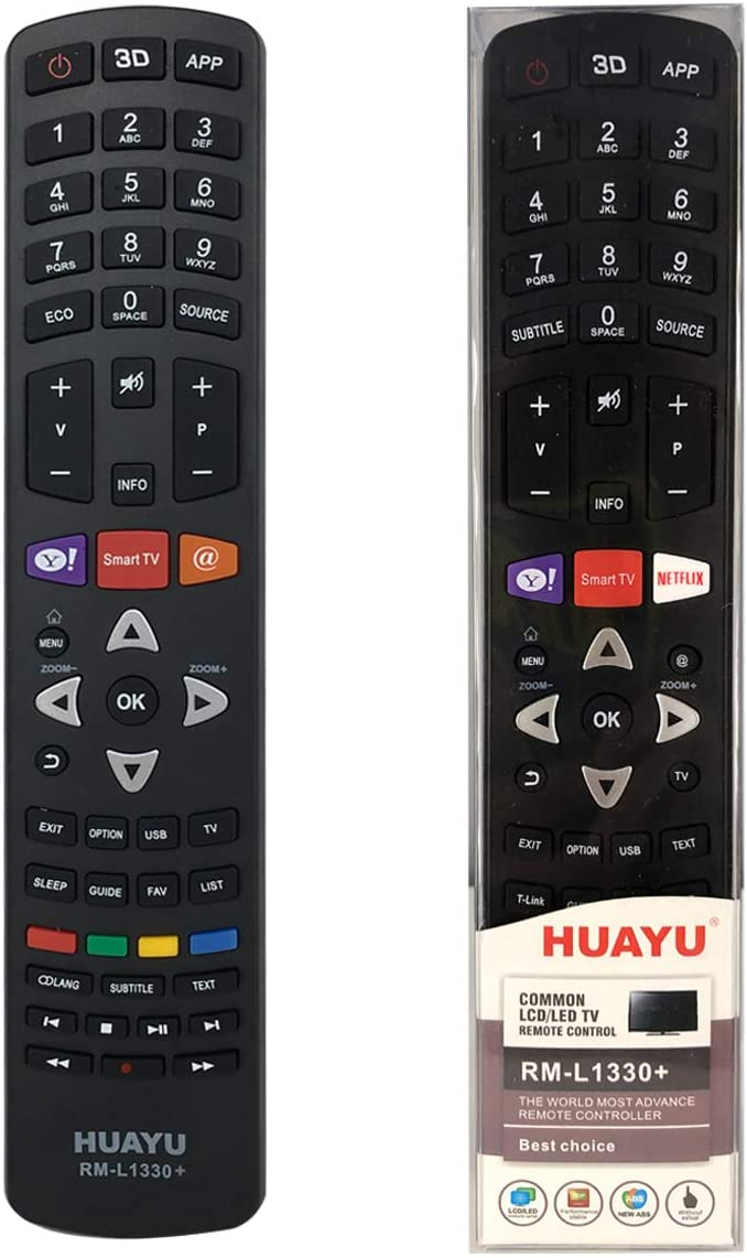 HUAYU RM-L1330+ TCL TV Replacement remote – Works with ALL TCL televisions (LED,LCD,Plasma) – Ideal TV replacement remote control with same functions as the original TCL remote - black