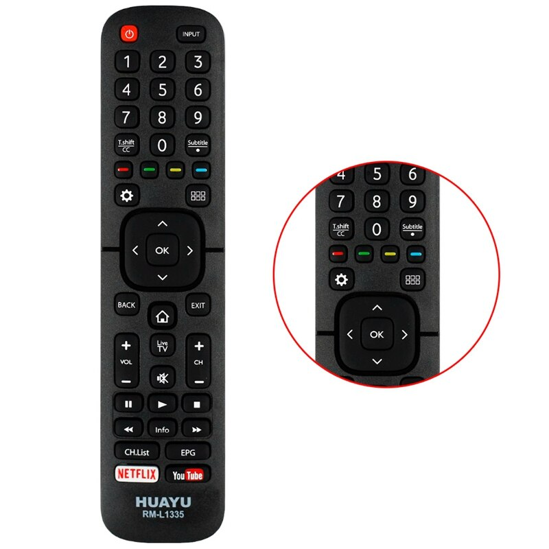 Hisense LCD LED TV Compatible Remote Control - Huayu RM-L1335 Universal Remote Control