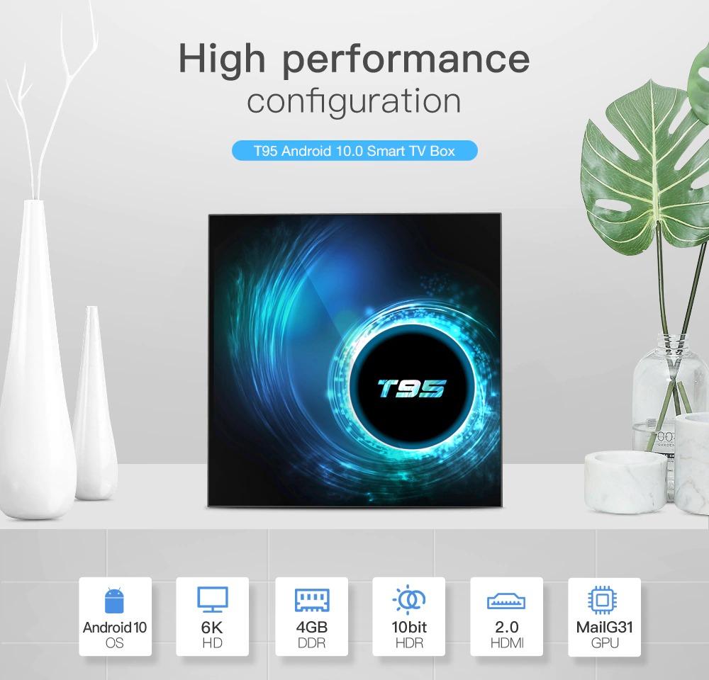 T95 Android 10 Smart TV Box - 4GB 64GB Allwinner H616