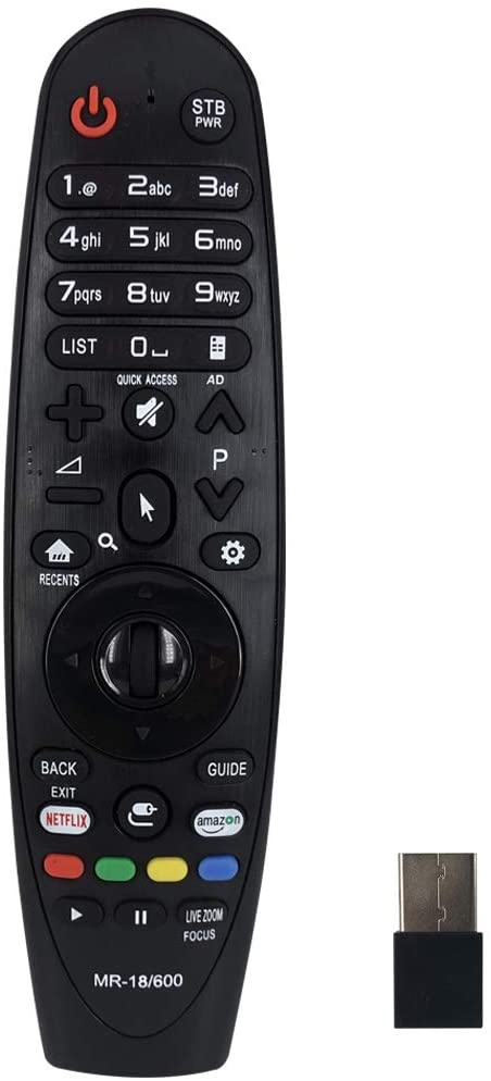 MR-18/600 LG Replacement Magic Remote – Works with ALL LG smart televisions (LED,LCD,Plasma) – Compatible with MR18 MR600 MR650 - black