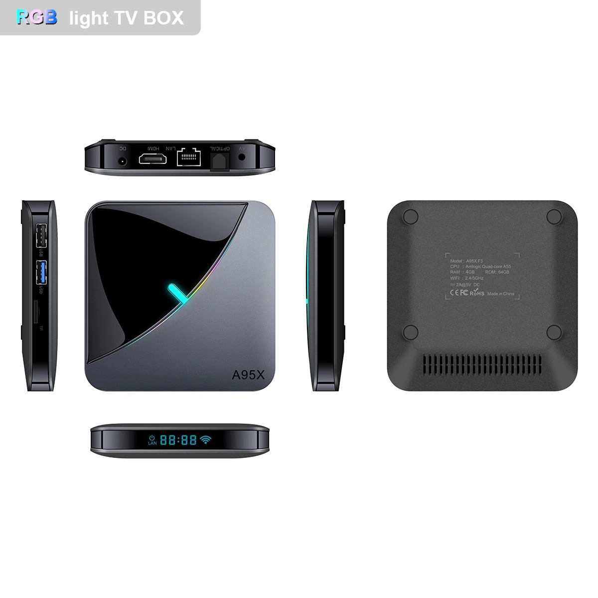 A95X F3 Android Smart TV Box - 4GB 64GB Android 9 Amlogic S905X3 Dual WiFi Bluetooth 100Mbps LAN