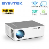 BYINTEK K20 Full HD Android Projector – 500 ANSI Lumens 1080p LED Video 300 inch Home Theater Projector