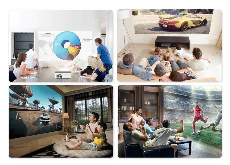BYINTEK K20 Full HD Android Projector - 500 ANSI Lumens 1080p LED Video 300 inch Home Theater Projector