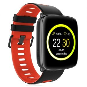 GV68 Smartwatch IP68 Waterproof Bluetooth 4.0 Android iOS Compatible Heart Rate Monitor Remote Camera Pedometer - Black red