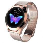KW10 Ladies Smart Watch - Rose Gold Steel Strap - Heart Rate Monitor Step Count Sedentary Reminder IP68