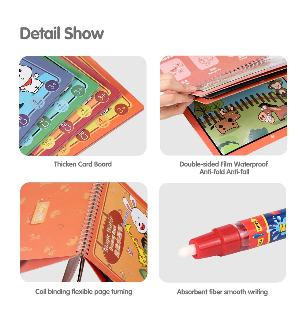 Tumama Kids Magic Water Drawing Book - Animals Coloring Doodle Magic Pen DIY Drawing Toys early education For Kids