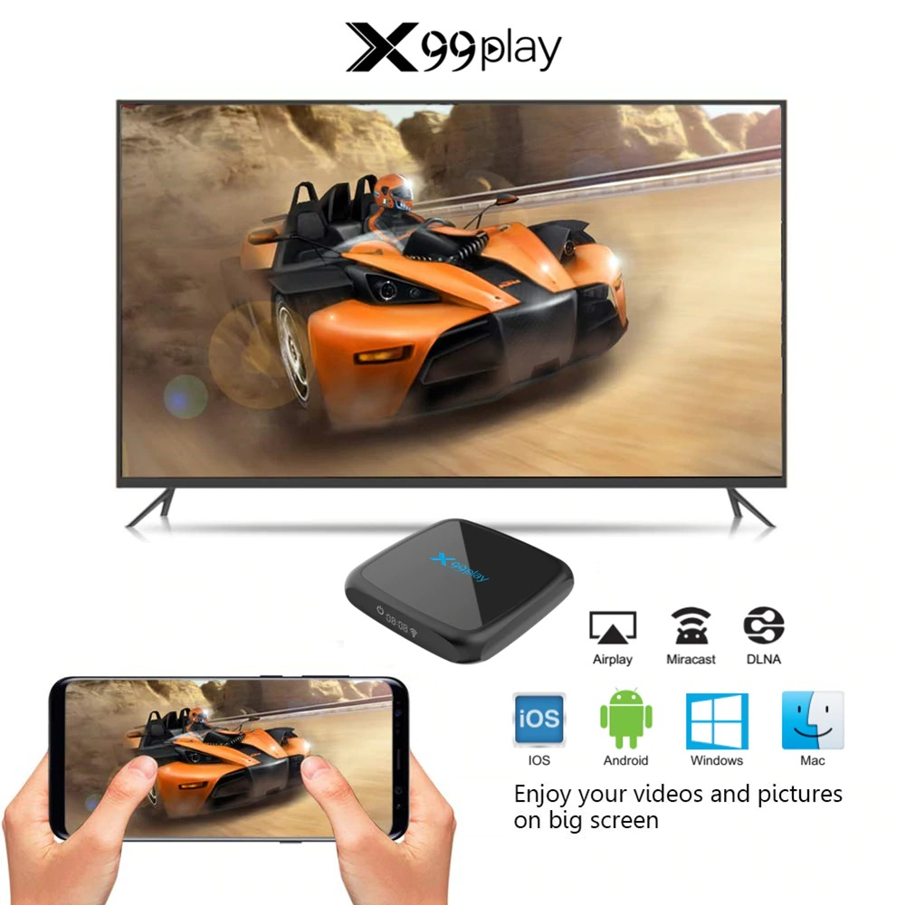X99 Play Android TV Box - 4GB RAM 64GB ROM Android 9 RockChip RK3318