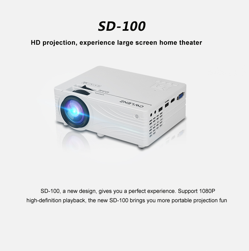 Owlenz SD100 HD Projector - 2000 Lumens 720p Multimedia Home Projector