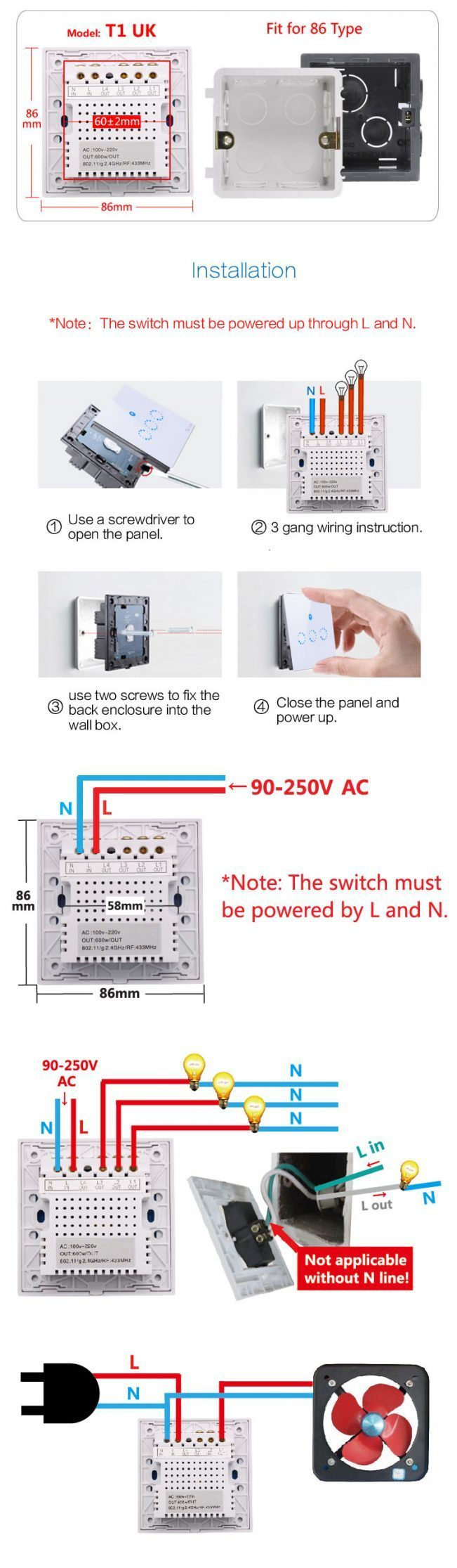 Sonoff T1 UK WiFi + RF Wall Touch Switch