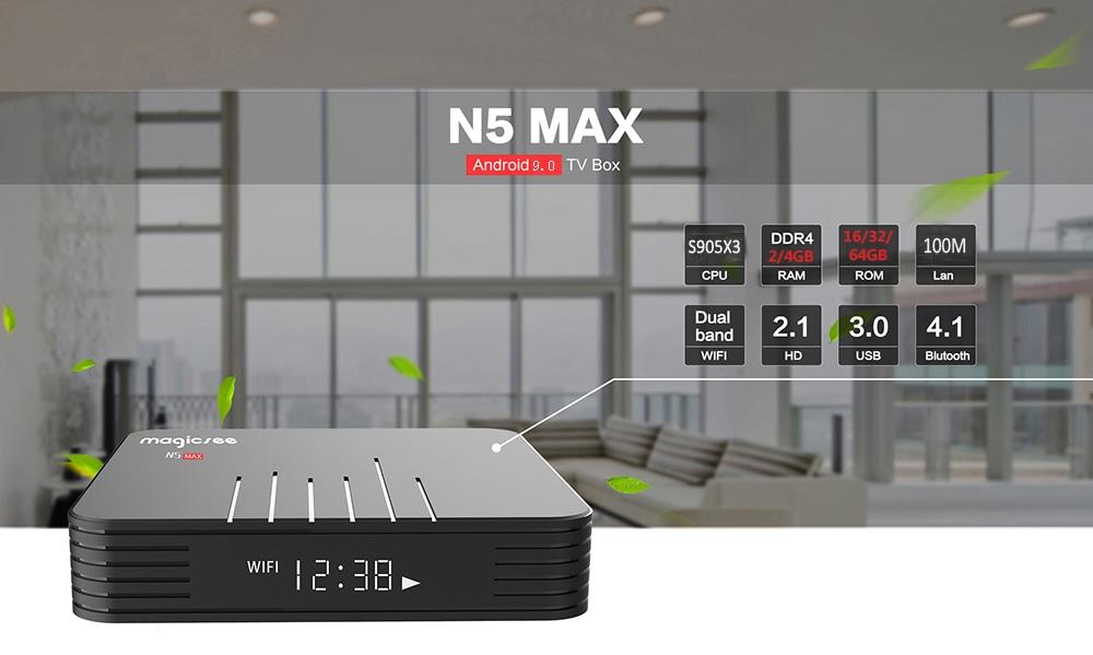 MAGICSEE N5 Max TV Box - 4GB RAM+64GB ROM Android 9