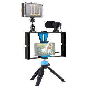 Puluz PKT3023 Live Broadcast LED Selfie Kits - Smartphone Video Vlogging Broadcast With Microphone, Light, Tripod