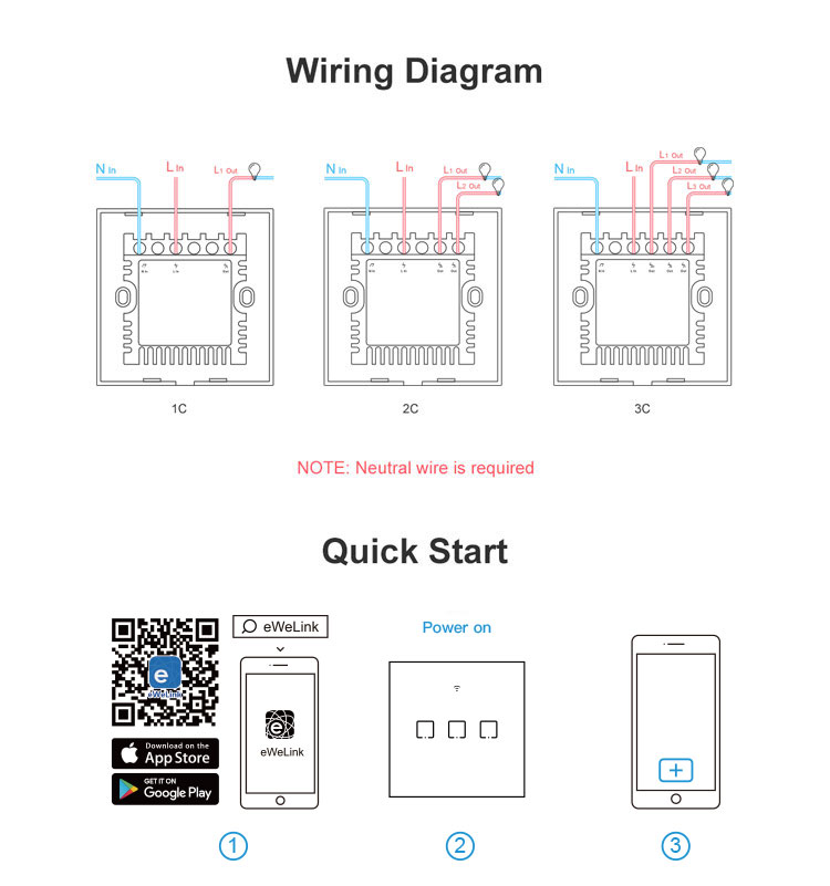 Sonoff T0UK3C TX Wifi Smart Wall Switch with Smart Home edge 3 Gang - White
