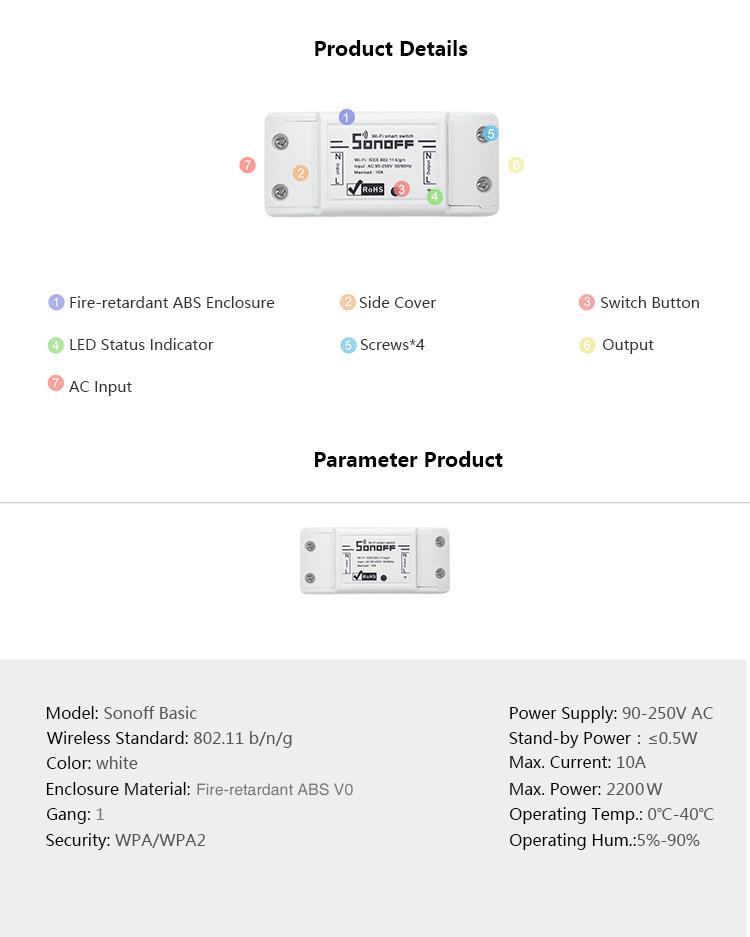 Sonoff Basic WIFI Smart Switch With Timer Internet Work With Amazon Alexa, Google Home ,Nest