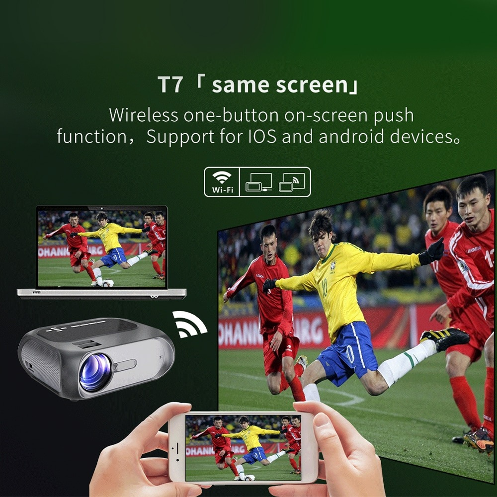 T7 HD Multimedia Wifi Projector - 720p Resolution 200 Ansi Lumens Home Theater Projector